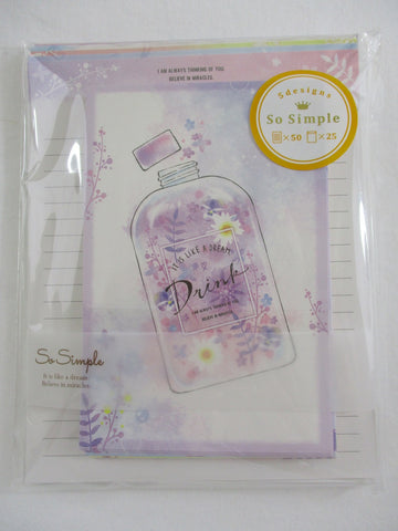 Cute KawaiiCrux Fragrance Bottle Flowers Letter Set Pack - Stationery Writing Paper Penpal