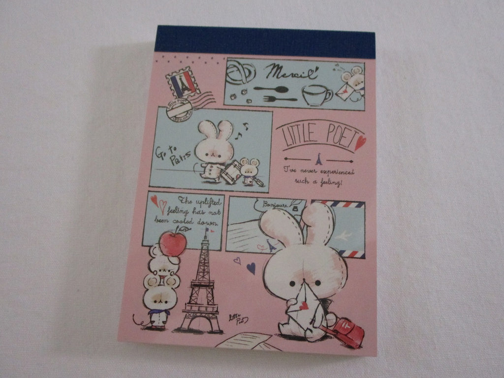 Cute Kawaii Kamio Little Poet Rabbit Writing Letter Love Mini Notepad / Memo Pad - Stationery Design Writing Collection