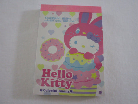 Cute Kawaii Sanrio Hello Kitty Colorful Bunny Mini Notepad / Memo Pad - A - Stationery Design Writing Collection