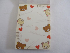 Cute Kawaii San-X Rilakkuma Bear Hearts Mini Notepad / Memo Pad - B - Stationery Writing Message