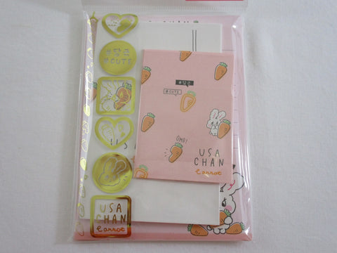 Cute Kawaii Crux Carrot Rabbit MINI Letter Set Pack - Stationery Writing Note Paper Envelope