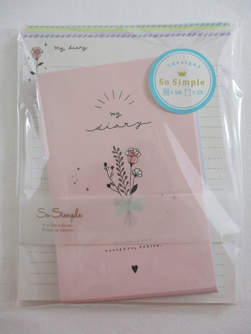 Cute Kawaii Crux Flower Diary Letter Set Pack - Stationery Writing Paper Penpal