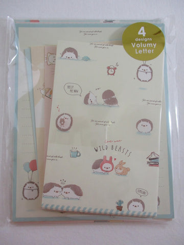 Cute Kawaii Q-Lia Hedgehog Rabbit Cute Wild Beasts Letter Set Pack - Stationery Paper Envelope Penpal