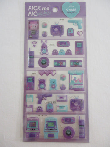 Cute Kawaii Crux Pick Me Sticker Sheet - Purple - Game Record Disk Fun Arcade - for Journal Planner Craft