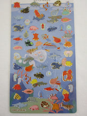 Cute Kawaii Kamio Fish Sea Ocean Sticker Sheet - with Gold Accents - for Journal Planner Craft Agenda Organizer Scrapbook