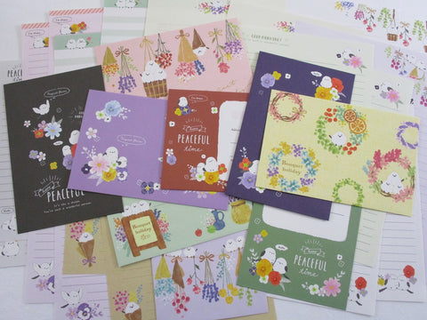 Cute Kawaii Birds anf Flowers Letter Writing Paper + Envelope Stationery Theme Set