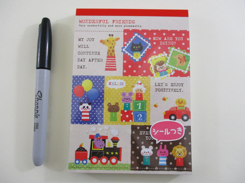 Cute Kawaii Kamio Wonderful Friends Animals 4 x 6 Inch Notepad / Memo Pad - Stationery Designer Paper Collection