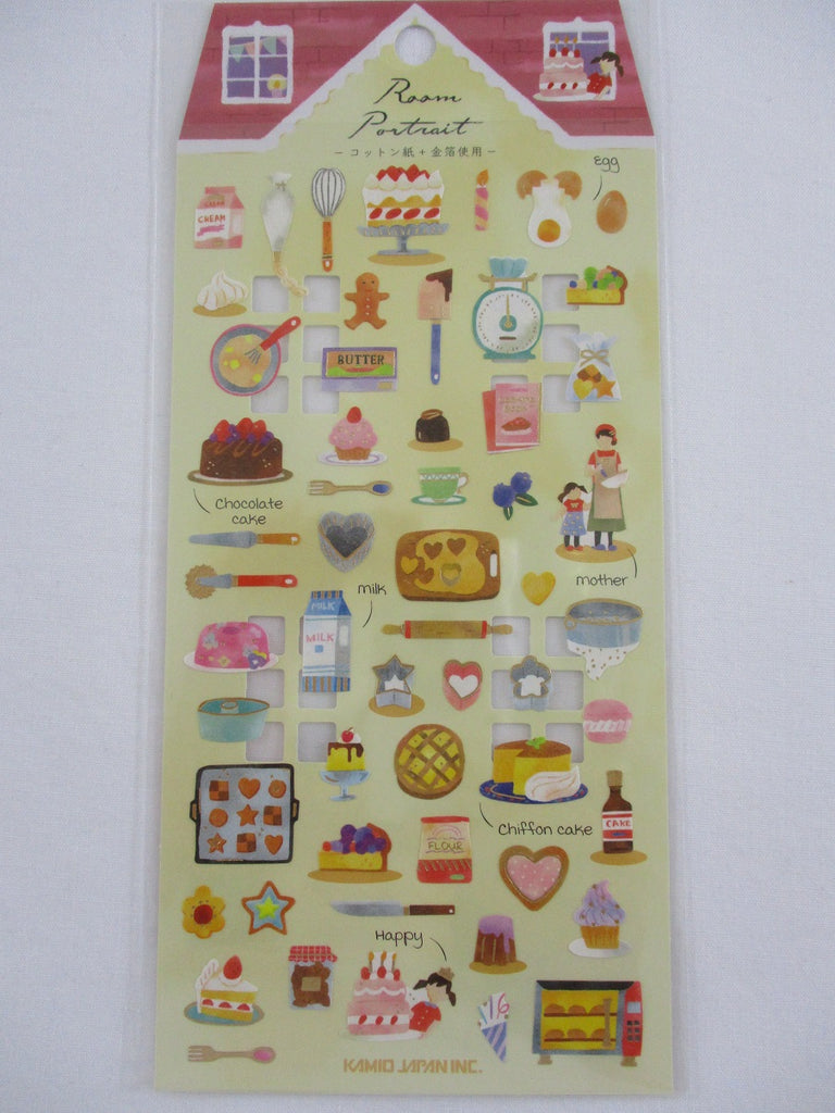 Cute Kawaii Kamio Room Portrait Series Sticker Sheet - Kitchen Cooking Baking - for Journal Planner Craft Agenda Organizer Scrapbook