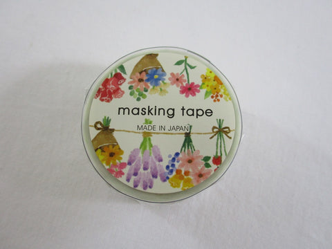 Cute Kawaii Mind Wave Washi / Masking Deco Tape - Flower Bouquet Garden - for Scrapbooking Journal Planner Craft
