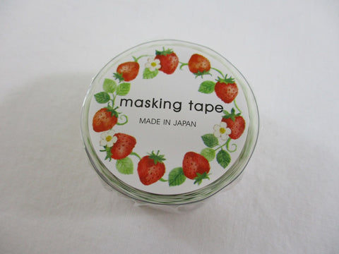 Cute Kawaii Mind Wave Washi / Masking Deco Tape - Strawberry Harvest Strawberries - for Scrapbooking Journal Planner Craft