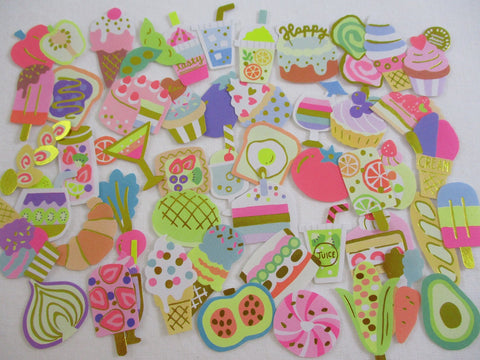 Food Drink Cake Bakery Bread Vegetable Healthy Flake Stickers - 50 pcs - neon style