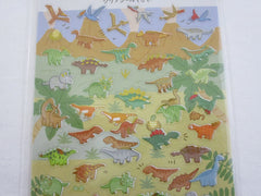 Cute Kawaii Kamio Dino Dinosaurs Sticker Sheet - with Gold Accents - for Journal Planner Craft Agenda Organizer Scrapbook