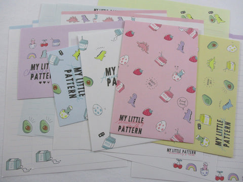 Crux My Little Pattern - Dino Dinosaurs Strawberry Milk Letter Sets - Stationery Writing Paper Envelope