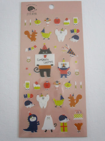 Cute Kawaii Decole Party Celebration Beer Greeting Birthday Food Costume Sticker Sheet - for Journal Planner Craft