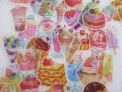 Food Drink Bubble Tea Ice Cream Bakery Fruit Cake Cupcake Pie Strawberry Flake Stickers - 32 pcs