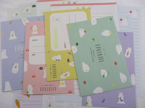Cute Kawaaii Crux Bear and Rabbit Letter Sets - Stationery Writing Paper Envelope