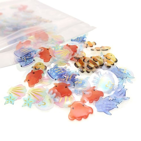 Cute Kawaii Crux Candy Drop Style Flake Stickers Sack - Fish Sea Ocean - for Journal Planner Agenda Craft Scrapbook