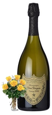 2009 Dom Perignon Champagne with Yellow or Red Roses