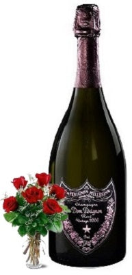 2009 Dom Perignon Rosé Champagne with Red or Yellow Roses