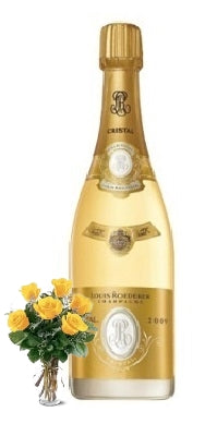 2012 Cristal Brut Louis Roederer Champagne with Yellow or Red Roses
