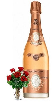 2012 Cristal Rosé Louis Roederer Champagne with Red or Yellow Roses
