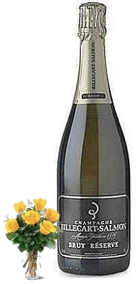 Billecart-Salmon Brut Réserve Champagne with Yellow or Red Roses