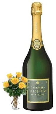 Deutz Brut Champagne with Yellow or Red Roses