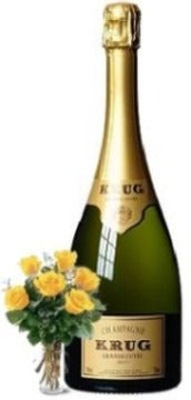 Krug Grande Cuvée Brut Champagne with Yellow or Red Roses