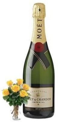 Moët & Chandon Brut Imperial Champagne with Yellow or Red Roses