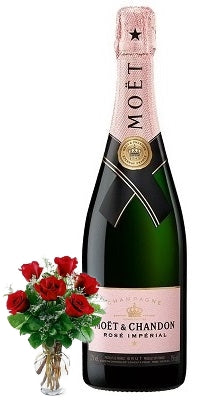 Moët & Chandon Imperial Rosé Champagne with Red or Yellow Roses