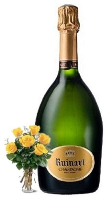 Ruinart Brut Champagne with Yellow or Red Roses