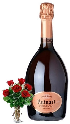 Ruinart Rosé Champagne with Red or Yellow Roses