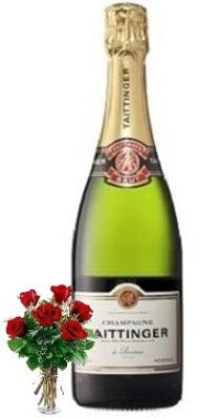 Taittinger Brut Champagne with Red or Yellow Roses
