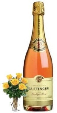 Taittinger Brut Prestige Rosé Champagne with Yellow or Red Roses