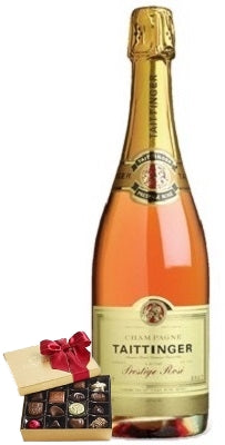 Taittinger Brut Prestige Rosé Champagne with Chocolate Gift Box