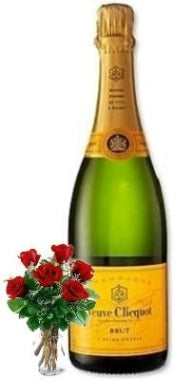 Veuve Clicquot Ponsardin Champagne with Red or Yellow Roses