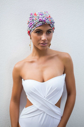 Louvelle Shower Cap - Dahlia Purple Mandala Showerwear