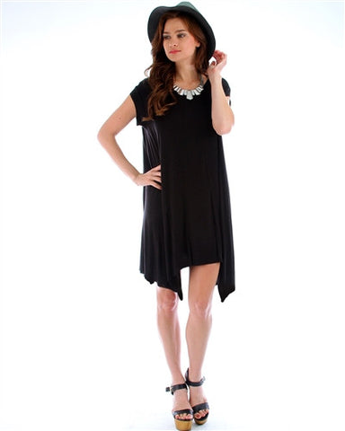 Black Asymmetrical T-Shirt Dress