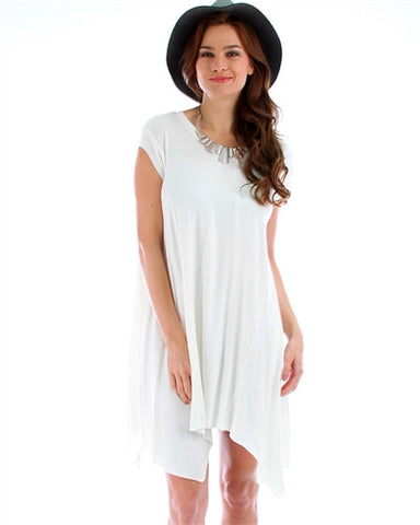 Ivory Asymmetrical T-Shirt Dress