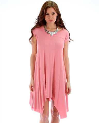 Pink Asymmetrical T-Shirt Dress