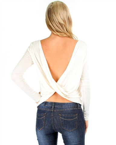 Ivory Boat Neck Open Back Long Sleeve Top