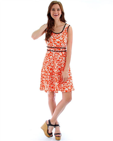 Orange & White Flower Print Dress