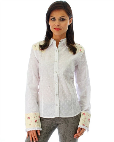White Flower Print Button Up Shirt