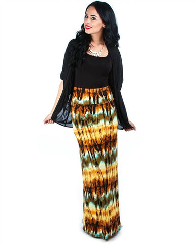 Yellow Tie Dye Printed Maxi Skirt
