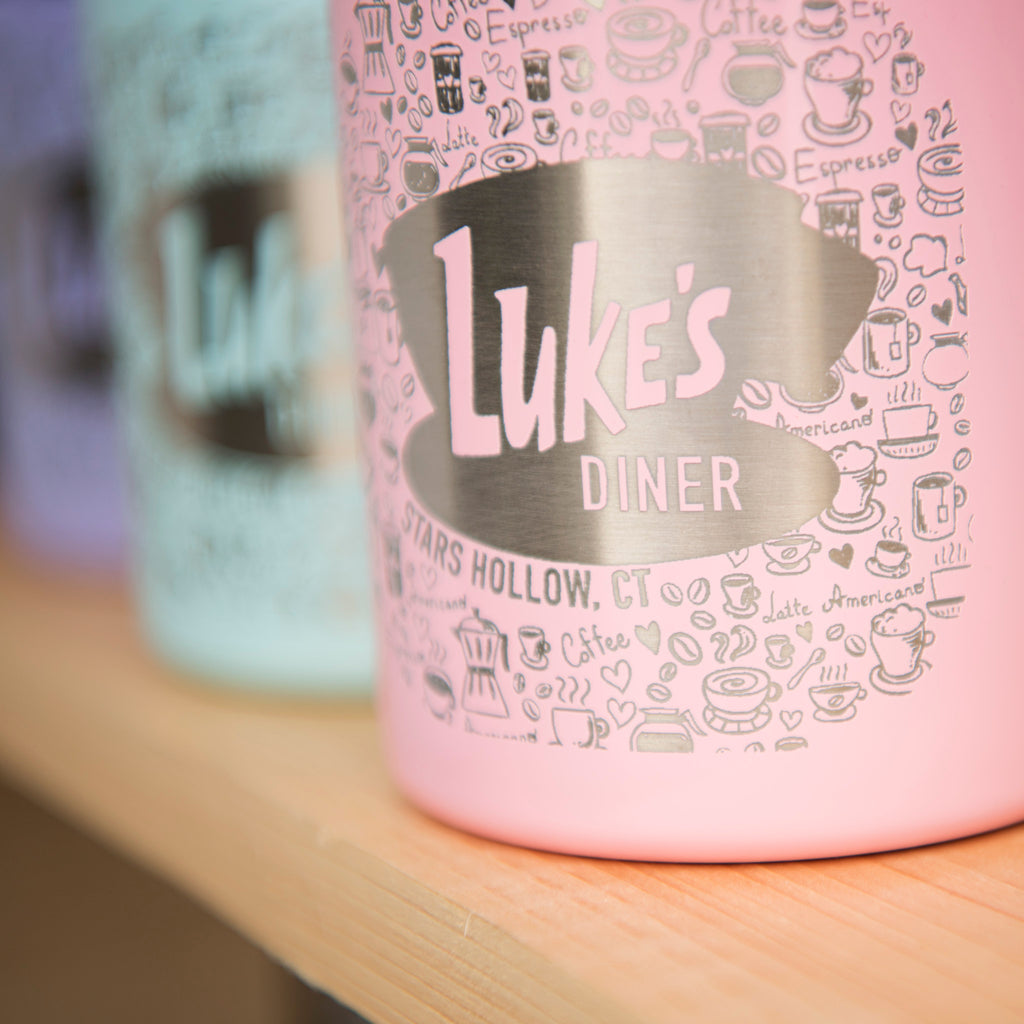 pink luke's diner coffee mug with lid