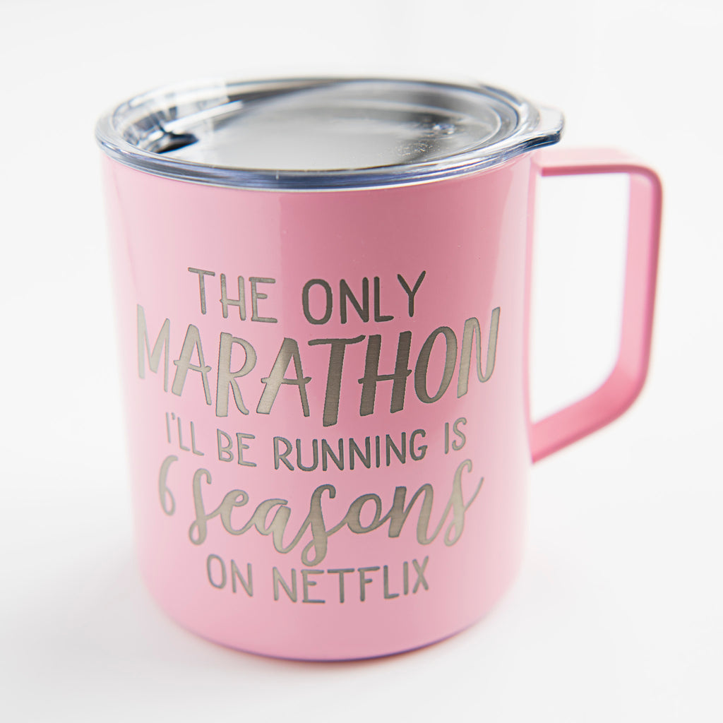 the only marathon i'll be watching is 6 seasons on netflix coffee mug