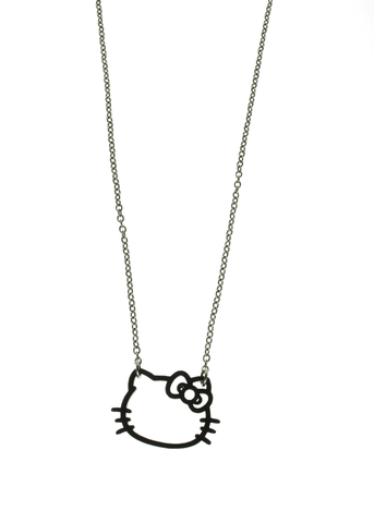 Hello Kitty® Head Outline Necklace in Solid Black
