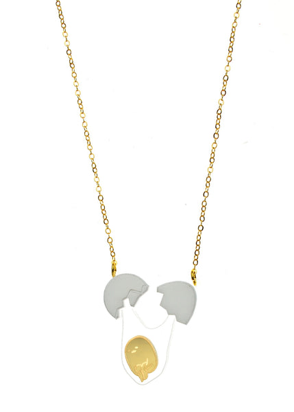 EXTRA SMALL Gudetama Cracked Egg Necklace