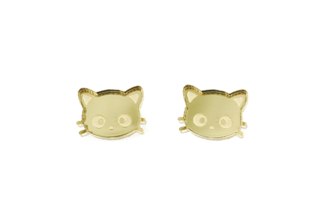 Chococat® Head Earrings in Mirror Gold