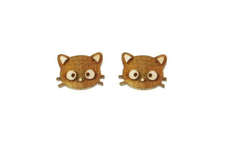 Chococat® Head Earrings in Birch Wood